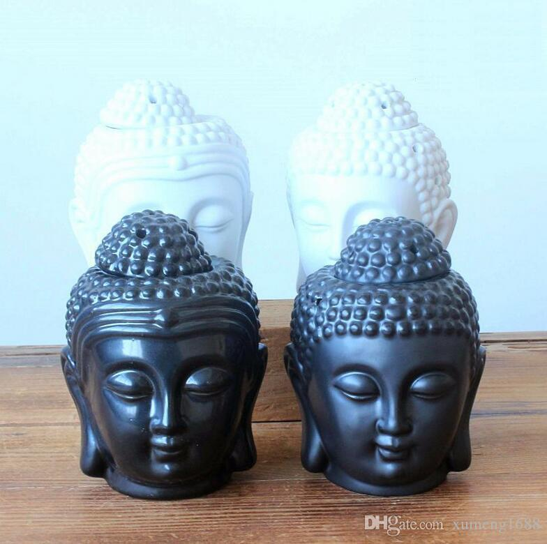 Ceramic Aromatherapy Oil Burner Buddha Head Aroma Essential Oil Incense Buddha Tibetan Incense Burner Diffuser Indian