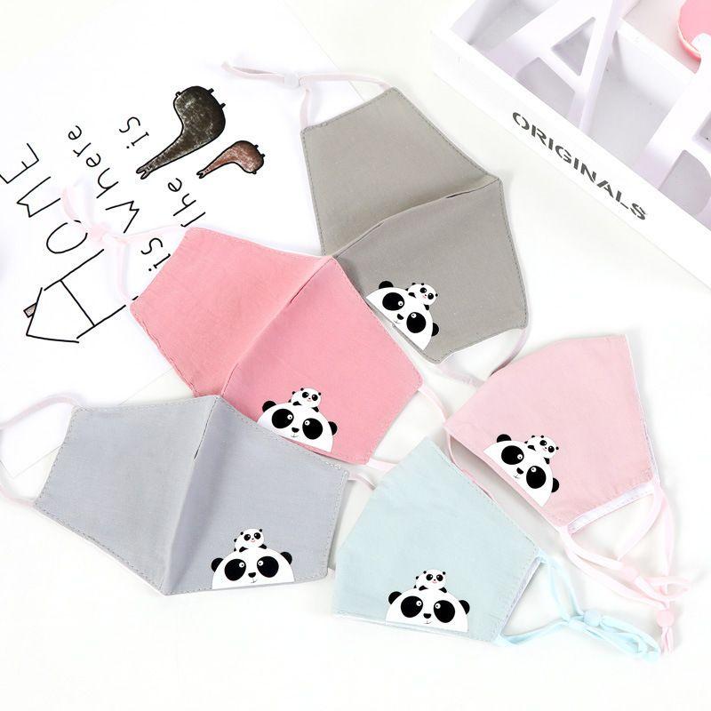 20 PCS Partito dei bambini del cotone antinquinamento delle ragazze del ragazzo del fumetto Bocca Viso Maschere Bambini anti-polvere traspirante lavabile Earloop panda maschera rosa