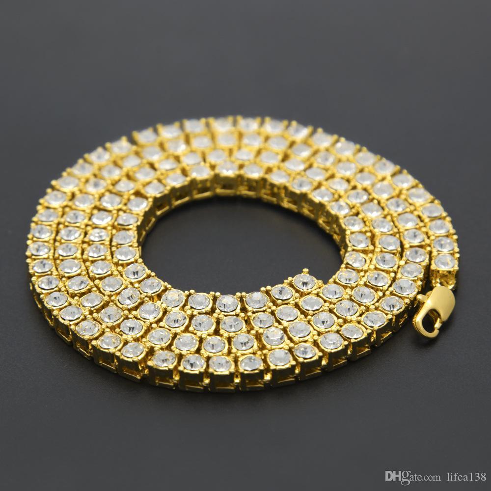 Hip Hop Männer Unisex 20 Zoll Iced Out Tennis Kette 1 Reihe Halsketten Drei Farbe Luxus Männer Kette Modeschmuck