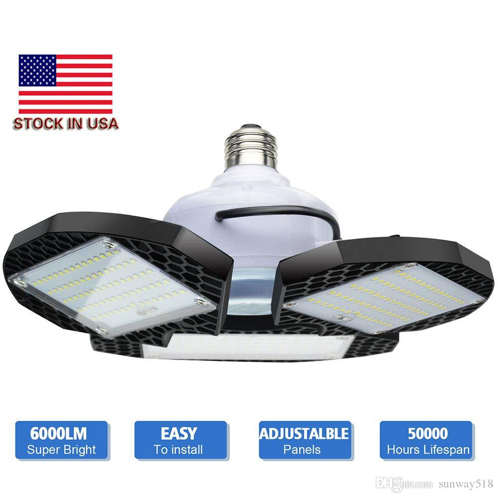 LED Garage Lights Deformable 7200 Lumens CRI 80 Led Shop Lights for Garage Garage Light with 3 Adjustable Panels Utility