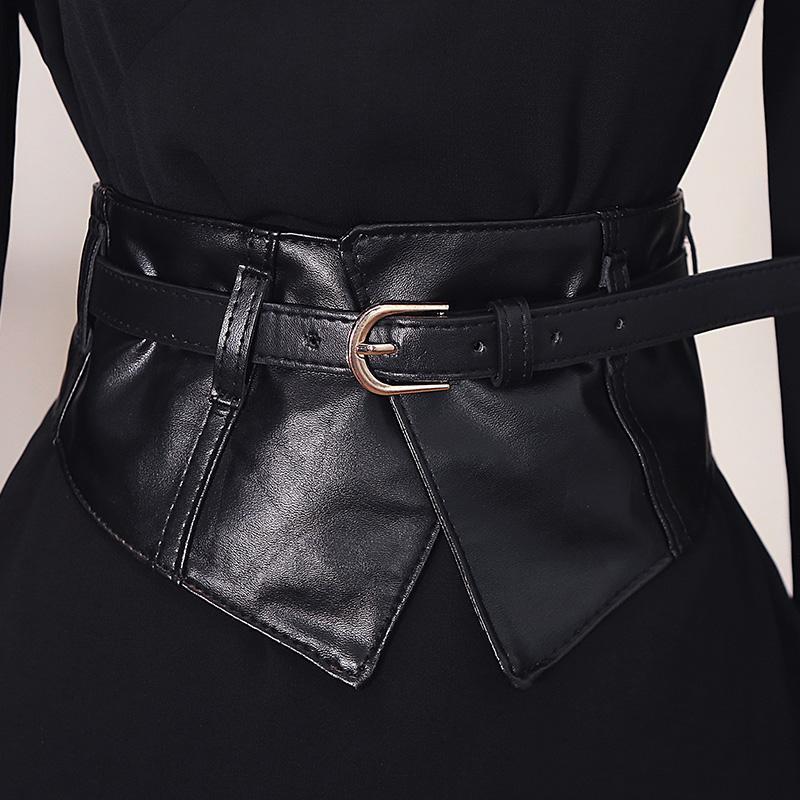 Mode féminine Peplum PU élastiques larges ceintures Slim Corset robe noire Faux cuir Ceinture Cummerbund Ceinture Pin Ceintures Boucle