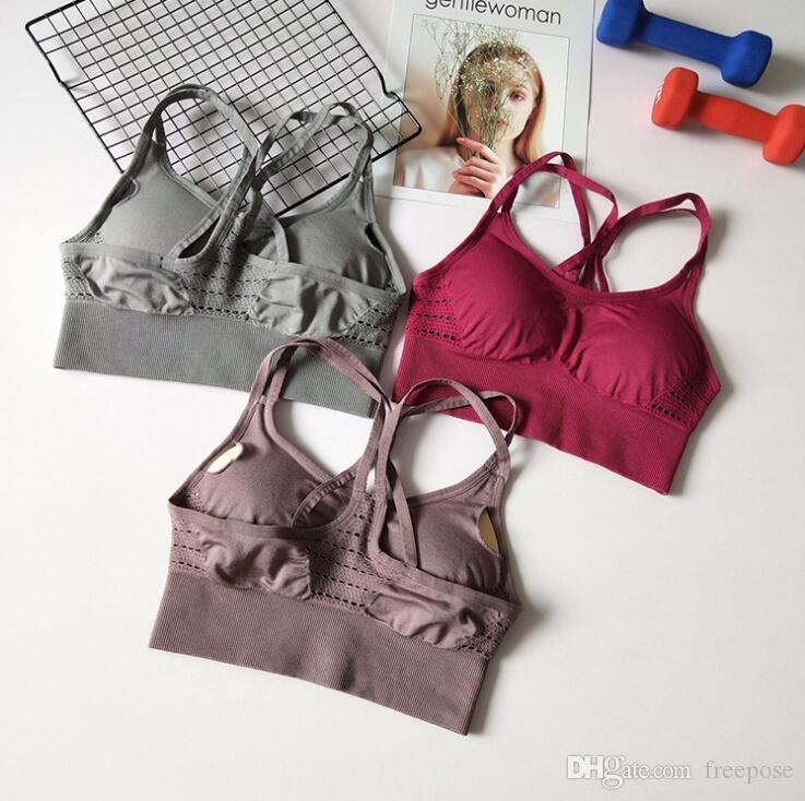 Frauen Sport-BH Fitness Gepolsterte Yoga-BH Top Nahtlose Tanks Weste Stoßfest Schnell Trocknend Gym Gymnastik Unterwäsche Push Up Crop Workout Active Wear