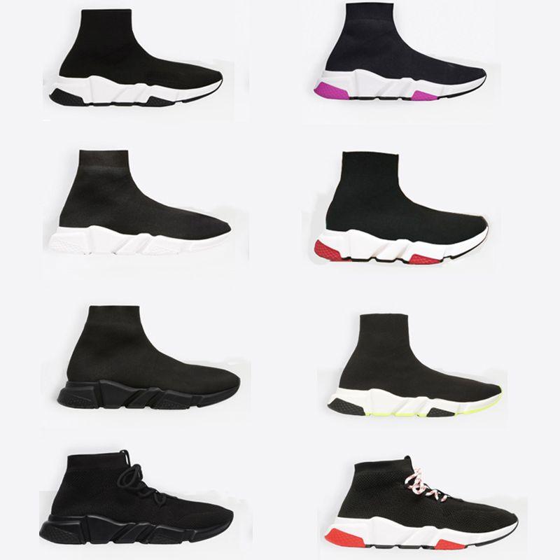 2019 مصمم جورب حذاء جديد باريس سرعة المدربين منتصف أعلى مدرب للجنسين جورب أحذية رياضية أعلى جودة عارضة العدائين الأحذية مع مربع