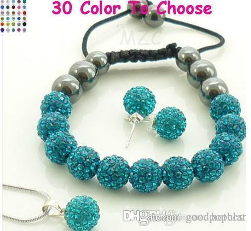 mixed Options!10mm Mix color white clear blue colored multicolor Crystal crystal Set Pendant necklace Bracelet Disco Balls e23