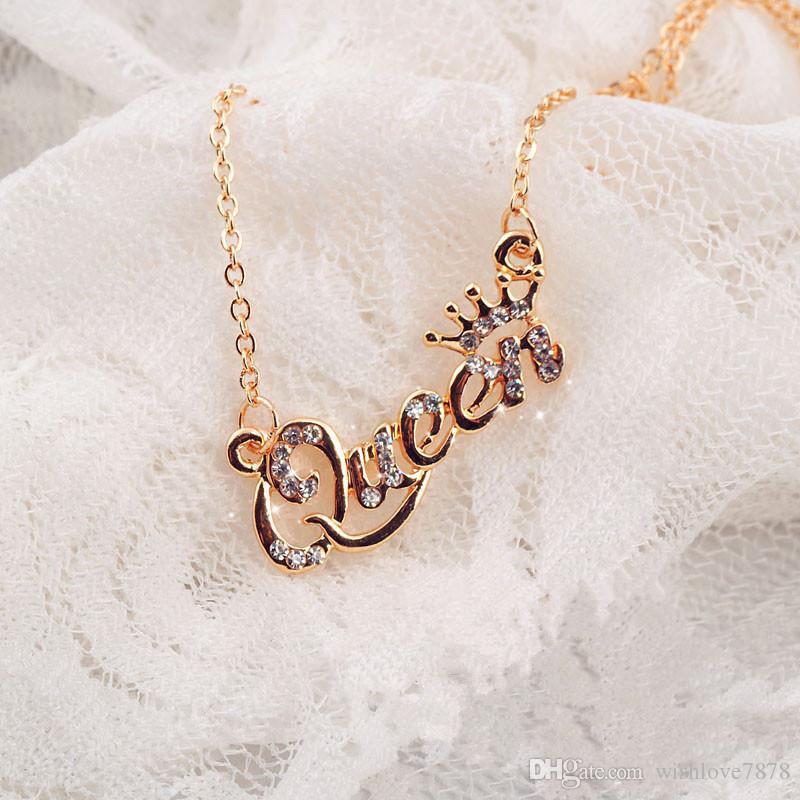 Corrente de Ouro Cor-de luxo Rainha Crown Colar Zircon Cristal Mulheres Colar moda jóias presente de aniversário de 3 cores para a escolha