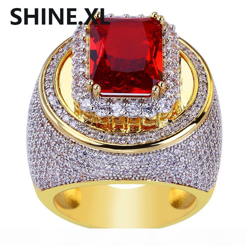 Regalo di colore Hip-Hop classico placcato oro cubico di personalità zircone Big Red Ring Pietra Fashion Glamour Jewelry Lover