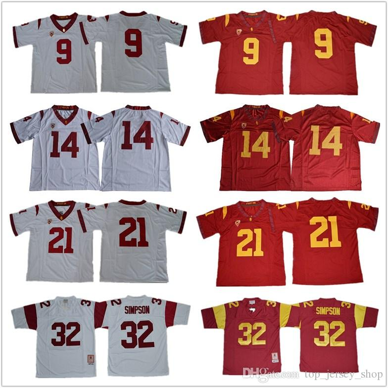 Men USC Trojans Jersey #14 Sam Darnold O.J Simpson 32 Robert Woods 2 Adoree Jackson JuJu Smith-Schuster 9 American College football jerseys