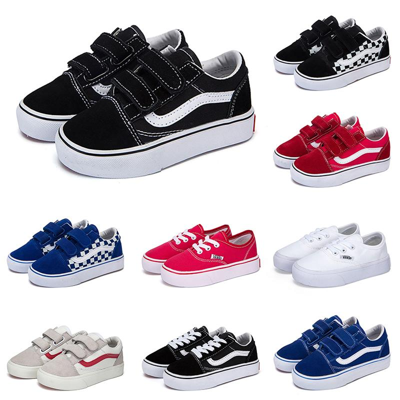 الاطفال فان أحذية رجالية قماش أطفال أحذية رياضية قديمة زلة SKOOL SK8 على الشقي chaussure لوح التزلج الثلاثي طفل أبيض أسود طفل الأحذية الكاجوال