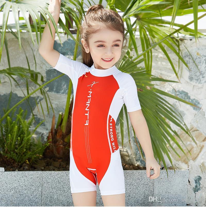 Projeto Swimwear Novo Swimwear das Crianças Meninas Swimwear Meninos One-piece Swimsuit de manga Curta Proteção Solar Wetsuit-secagem rápida navio livre