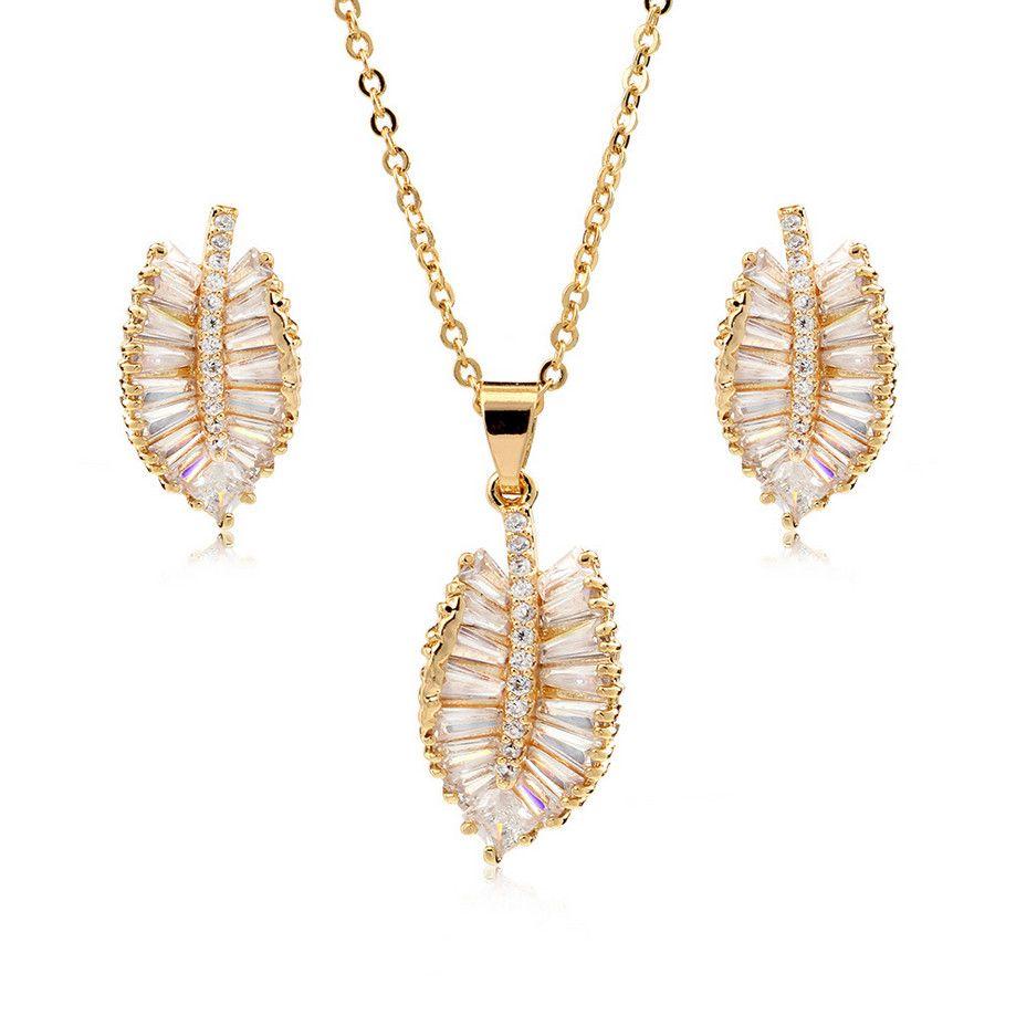 Korean Style Copper Pendant zircon boutique fashion earrings necklace fashion earrings accessories set