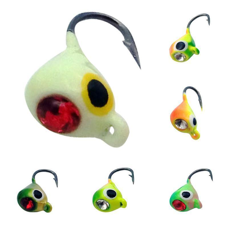 6 Pcs/set Bait Winter Ice Fishing Lure 1.8cm 2.3g Mini Metal Lead Head Hook Bait Jigging Fishing Tackle Fishing Bait