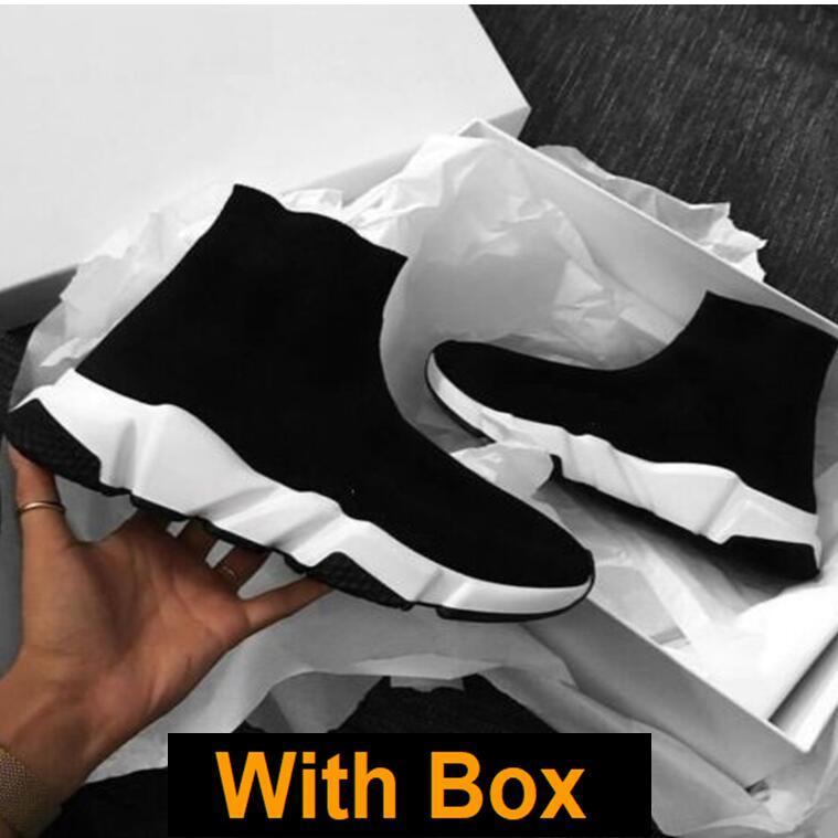 Los corredores del calcetín con la caja Calcetines velocidad formadores de punto Paris calcetín zapatos del calcetín de punto triple S Botas formadores Runner zapatillas de deporte tamaño 36-45 Hombres Mujeres