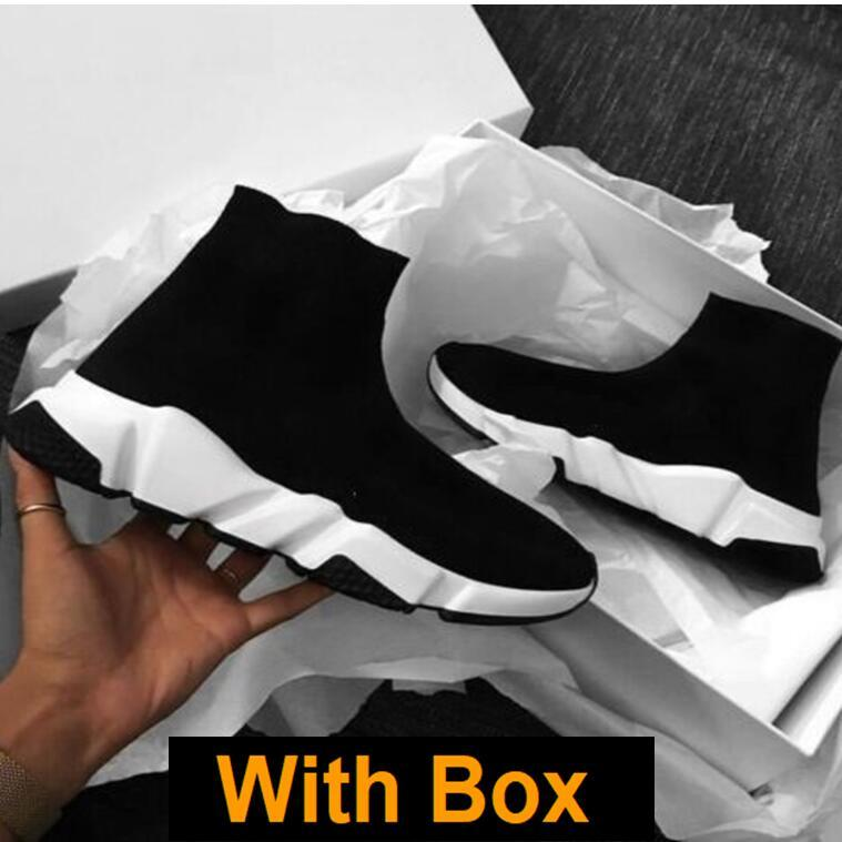 Socken-Runners mit Kasten Socken Geschwindigkeit Trainer Knit Paris Socken Schuhe Socken stricken Triple S Stiefel Turnschuhe Runner Turnschuhe Größe 36-45 Männer Frauen