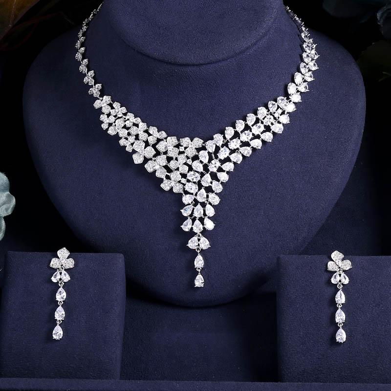 JaneKelly Luxo Sparking Brilliant Cubic Zircon Brinco Colar colar noiva conjunto de noiva casamento conjuntos de jóias