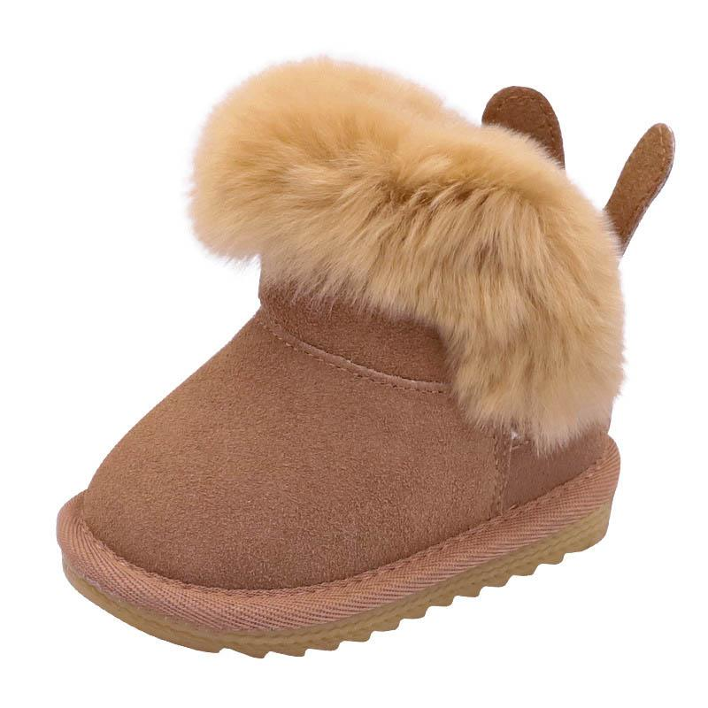 Camel Faux Suede Fur Top Booties Girls Winter Kids Boots Baby Toddlers Size 5