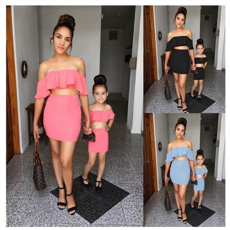 INS Stylish Family Matching Outfits Mather With Daughter Mommy Me Child Girl Open Ruffles Solid Skirt Family Clothes Tops Pants Sets