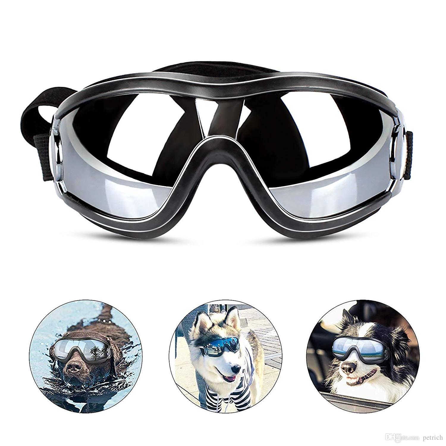 Dog Sunglasses Dog Goggles Adjustable Strap for Travel Skiing and Anti-Fog Snow Goggles Pet Goggles for Medium to Large