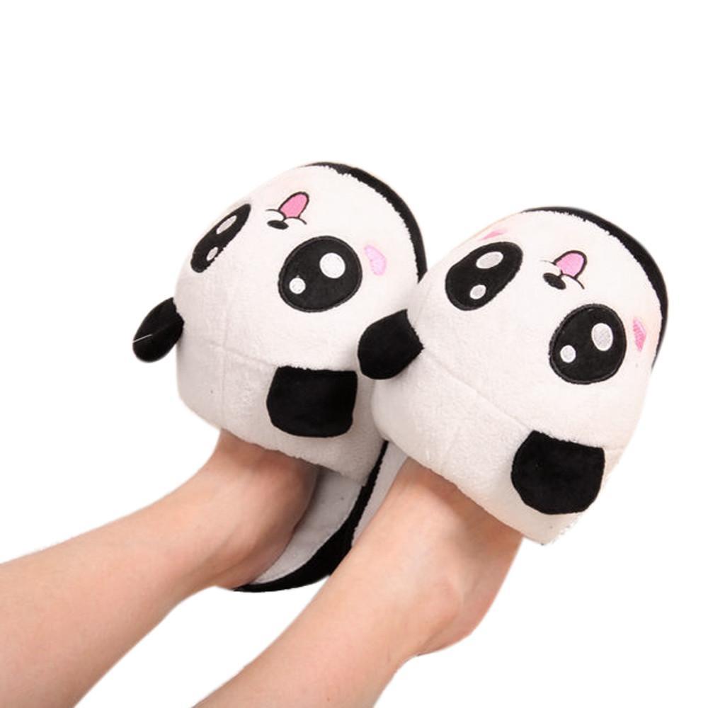Panda Desen Bayanlar Terlik Sıcak Peluş Antiskid Ev Terlik Kış Pofuduk Yumuşak Peluş Kapalı Ayakkabı Kadın Flats Schoenen Vrouw