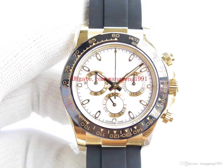 9 cores Top Fábrica Relógio Movimento Qualidade Relógios Mens automáticos 40mm 7750 18K Cronógrafo de Ouro Amarelo Bezel 116518Ln Cerâmica BP Cal. Atfx.