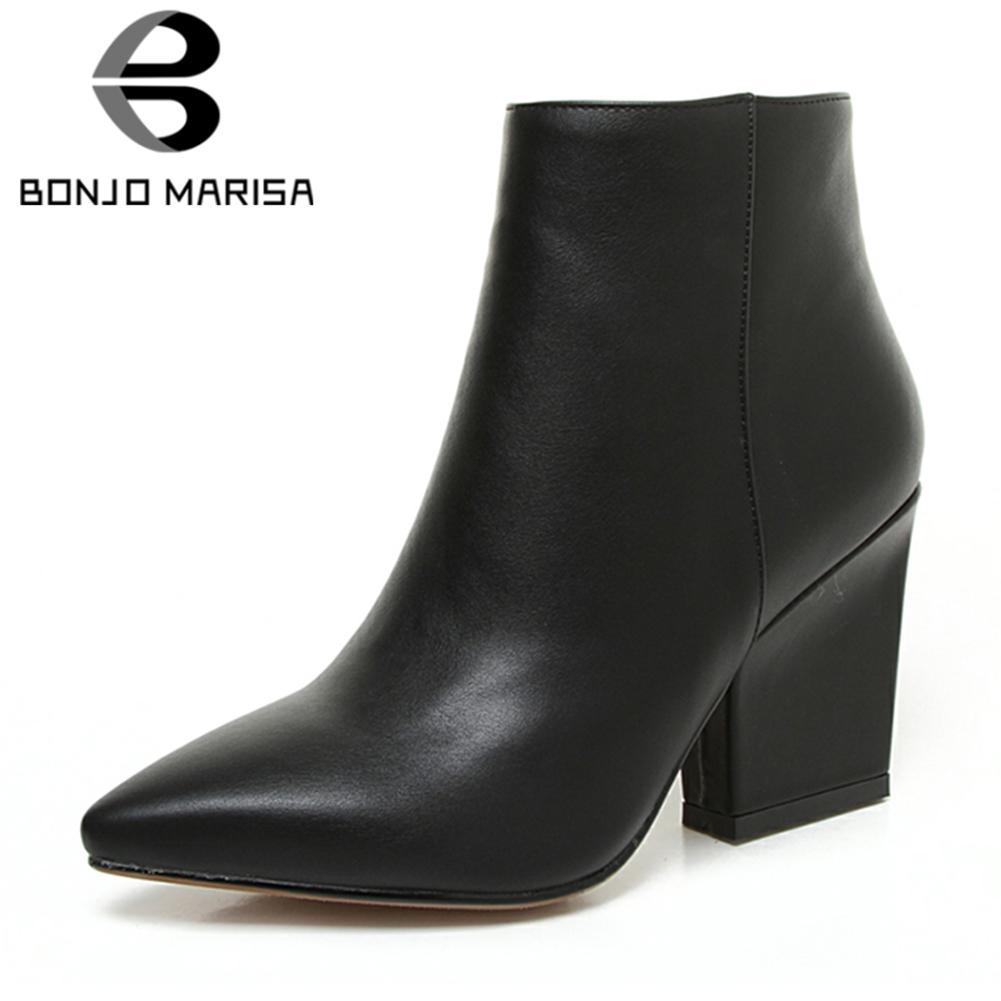 Bonjomarisa 2018 sonbahar katı ol olgun siyah ankle boots kadın fermuar kapatma sivri burun yüksek topuklu ayakkabılar kadın büyük boy 32-43
