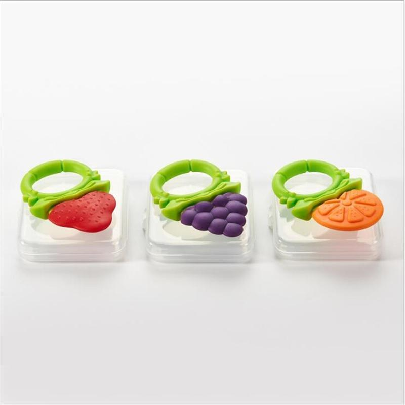 Bébé Fruit silicone Raisin Fraise orange Teether Teething Chew Bague Toy cadeau