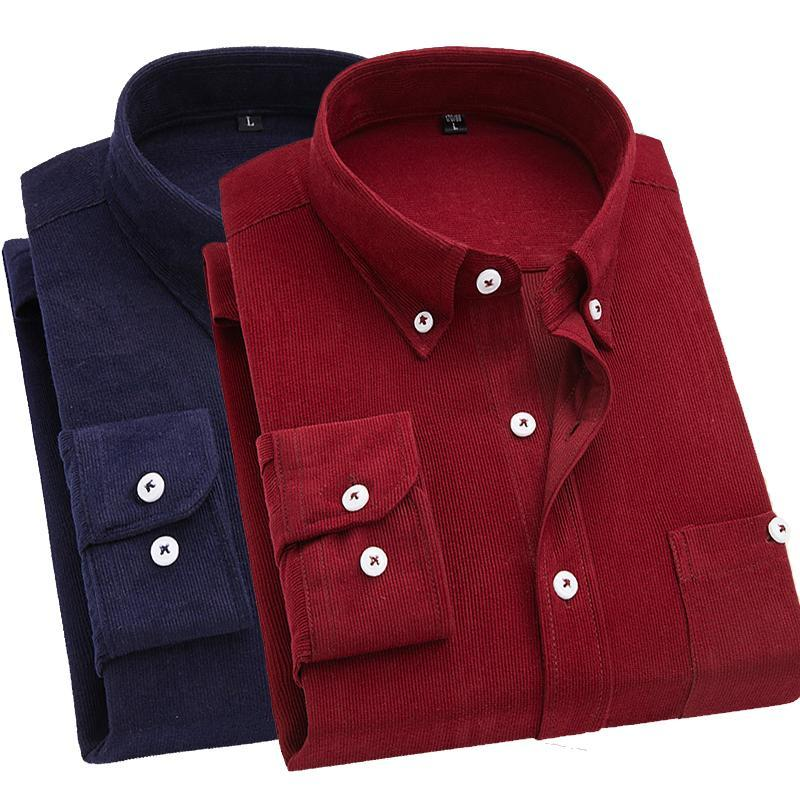 2019 Men Shirt Long Sleeve Slim Fit Brand Corduroy Shirt Men Business Shirts 5XL Clothing Soft Comfortable Camisa Masculina