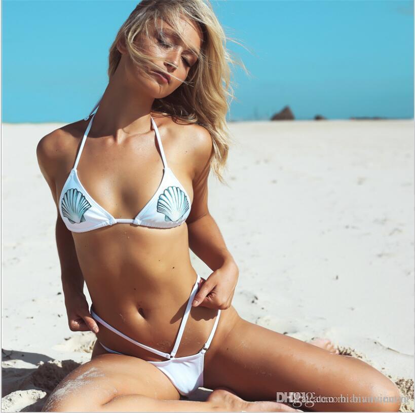 2019 conque dentelle tissée imprimé style sknit style halterneck femme fille coquille sexy fendue bikini soutien-gorge maillot de bain halte maillot de bain de maillot de bain chaud coquillage costume secs