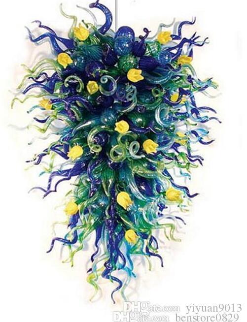 Современный Художественный Декор Выдувные Стеклянные Люстры Легкий Цветочный Дизайн Американский Стиль Выполненный На Заказ Гостиничный Декор Люстры
