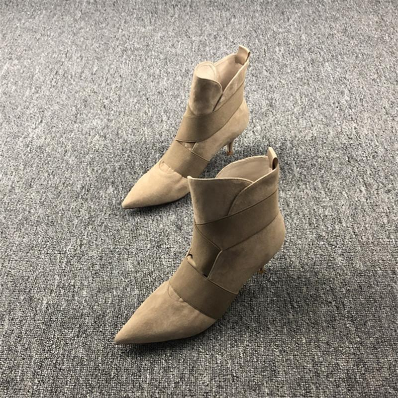 Stiefel Damen Schuhe De Mujer Spitzschuh Botas Mujer dünne Fersen Damenschuhe Elastic Band Stiefel Sexy Ankle Slip On