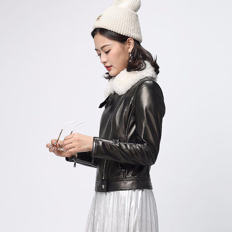 Reale di pecora cappotto del bomber Vera Donna Primavera Autunno Streetwear Slim Giacche Chaqueta Mujer YFN - 9 YY438