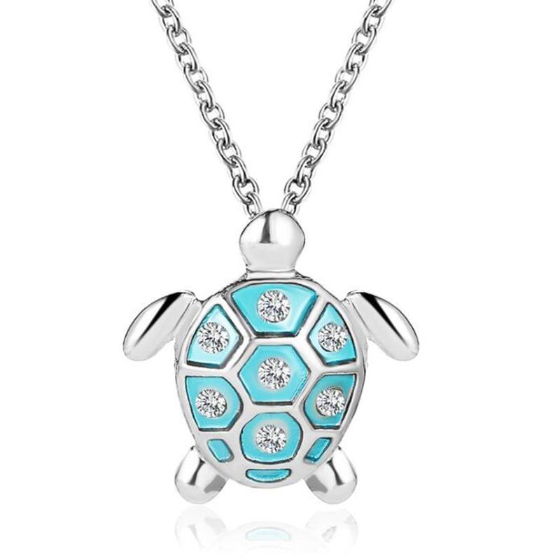 Kadınlar Mavi Gümüş Renk Kaplumbağa Zincir kolye Ocean Beach Bildirimi Takı Collares Crystal Deniz Kaplumbağası kolye kolyeler