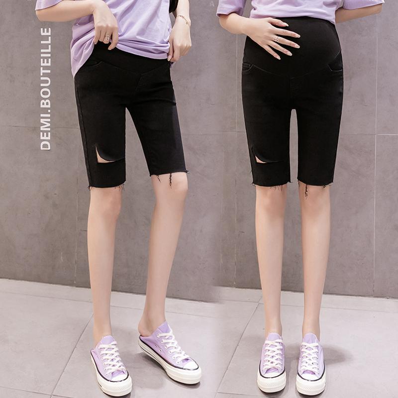8896 # Annelik Pantolon Yaz delik Katı Renk Ayarlanabilir Elastik Bel Göbek Destek Pantolon Hamile Pantolon