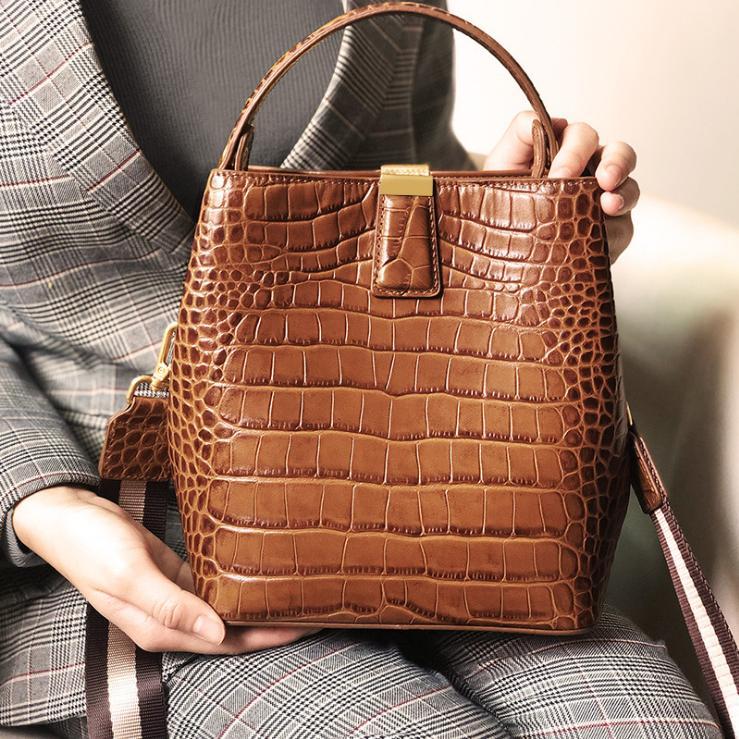 bolsa de couro novos modelos de camada superior de couro de crocodilo Bucket Bag Lazer de mão Mensageiro Shoulder Bag