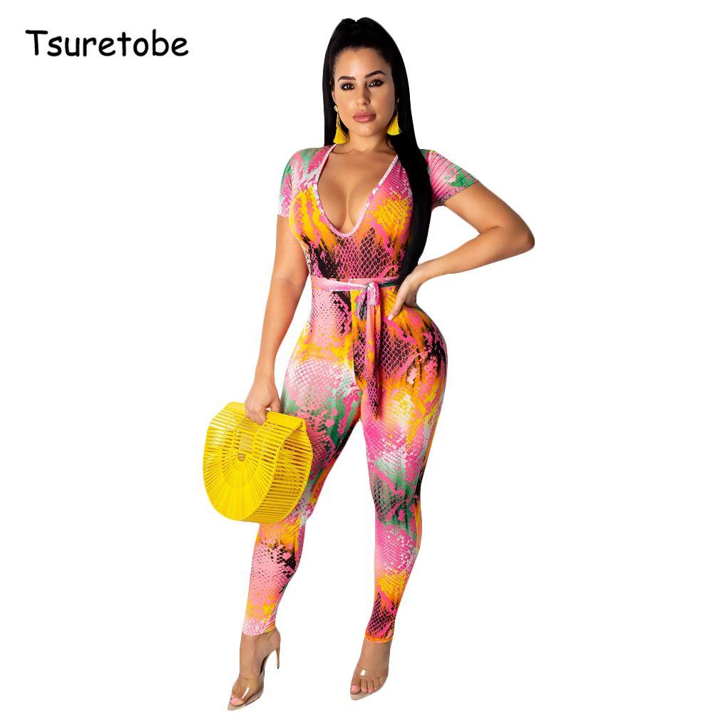 Tsuretobe Sexy Bandage Snake Print Jumpssuit Sleeve Sleeve Femmes Été Baldoyal Bombers De Deep Col V - Vélo Tenue féminine T200611