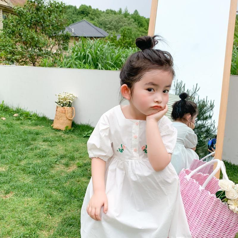 2020 여름 새로운 도착 여자 패션 코튼 드레스 키즈 한국어 디자인 꽃 자수 드레스의 소녀 드레스
