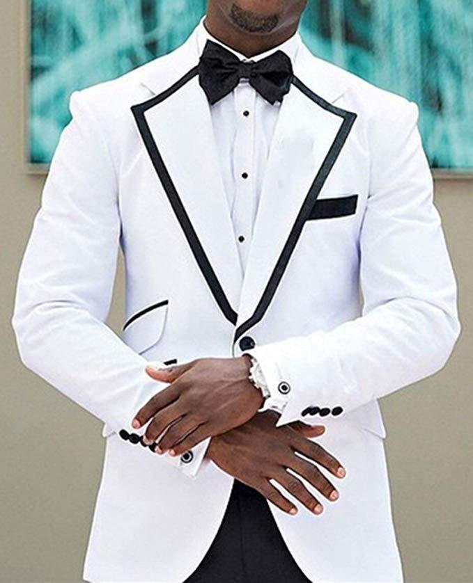 Beyaz Biçimsel Erkekler Suit 2 Adet Tek Düğme Blzer Slim Fit Damat Düğün Suit Çentikli Yaka Groomsmen Damat Smokin (Ceket + Pantolon)