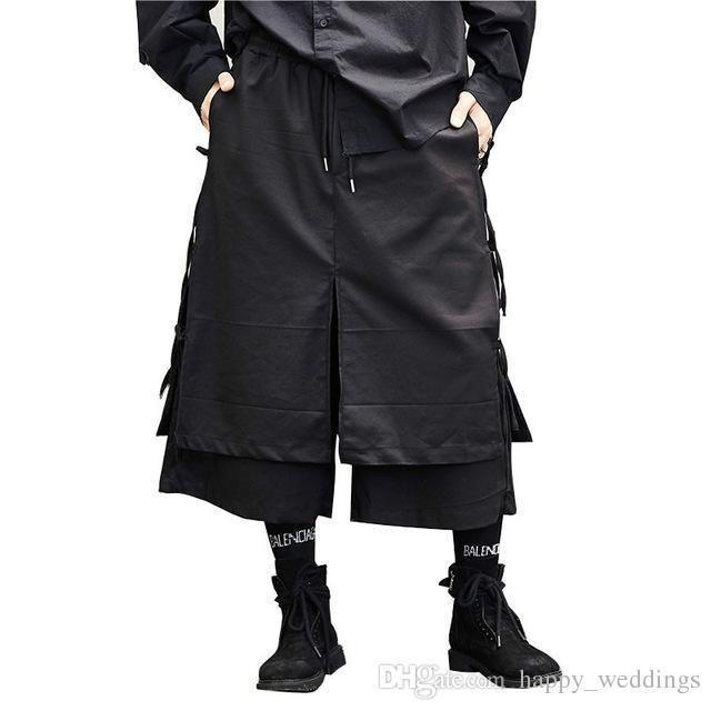 Male Fashion Casual Harem Trouser Stage Wear Wide Leg Pant Punk Hip Hop Costumes Men Japan Style Kimono Skirt Pant