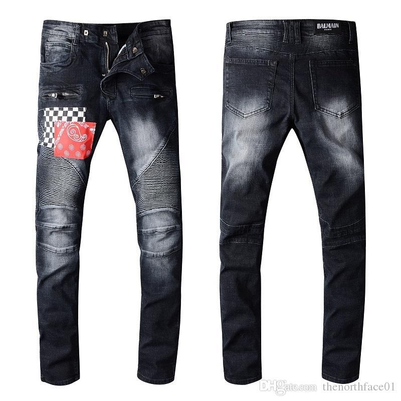 Balmain Jeans neue Art und Weise Mens Einfache Sommer Leichte Jeans Herren-große Art und Weise beiläufige feste klassische gerade Denim Jeans Stylist