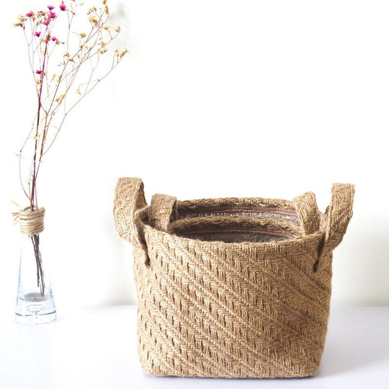 EASY-Woven Storage Basket Hemp Rope Flower Pot Dirty Clothes Laundry Hamper With Handles Office Desktop Sundries Organizer Box