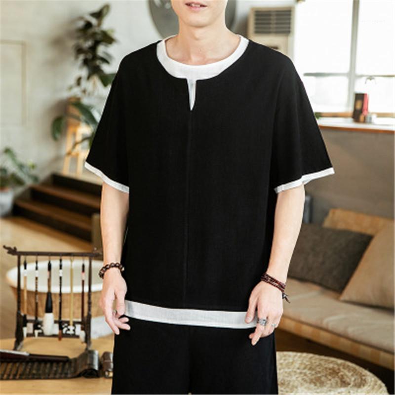 Ropa de Streetwear Moda Casual Tamaño Harajuku Male Plus manga corta color del golpe Hanfu camisa de los hombres Camiseta del estilo sport del algodón chino