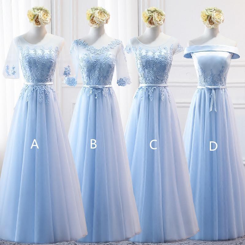 Sky Blue Lace Тюль Платья невесты Узелок 2020 Длина пола свадебное платье Robe хвостовка Легиона