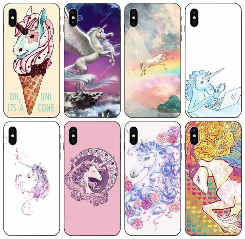 [TongTrade] Unicorn Figura Disegno Pittura del iPhone X XS 11 Pro Max 8 7 6s 5s 6p 5p Samsung J8 Huawei Y6 Pro Xiaomi 1Pcs Caso 9 Pro