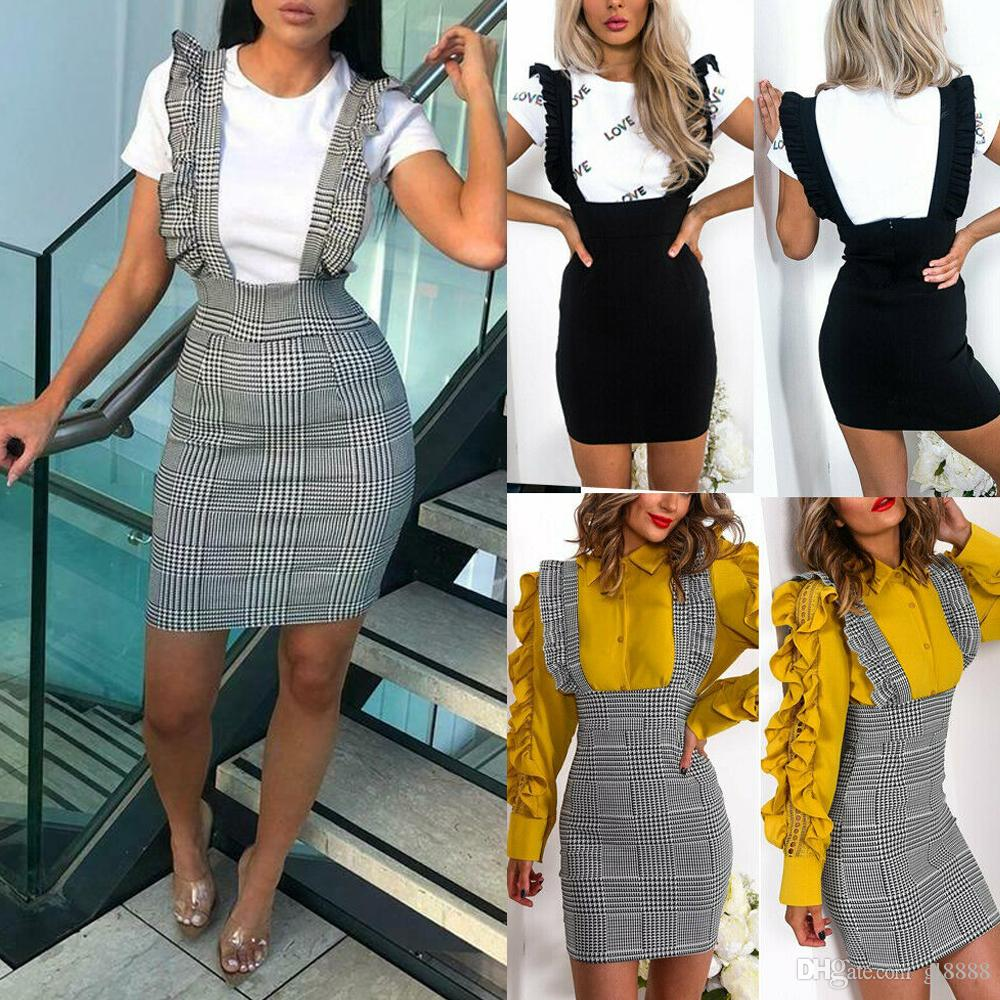 Women Strap Skirts Frill Ruffles Bodycon Bids Skirts Party Fashion Ladies High Waist Strappy Pencil Skirts