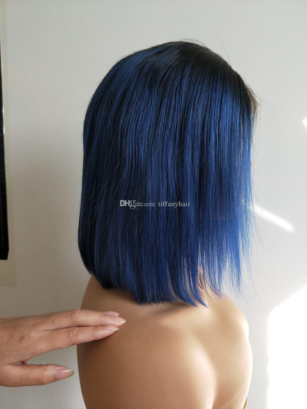 Las pelucas de pelo humano frente H Bob cordón de color azul pelo del bebé Pre desplumados brasileña rayita natural recta corta para las mujeres Negro