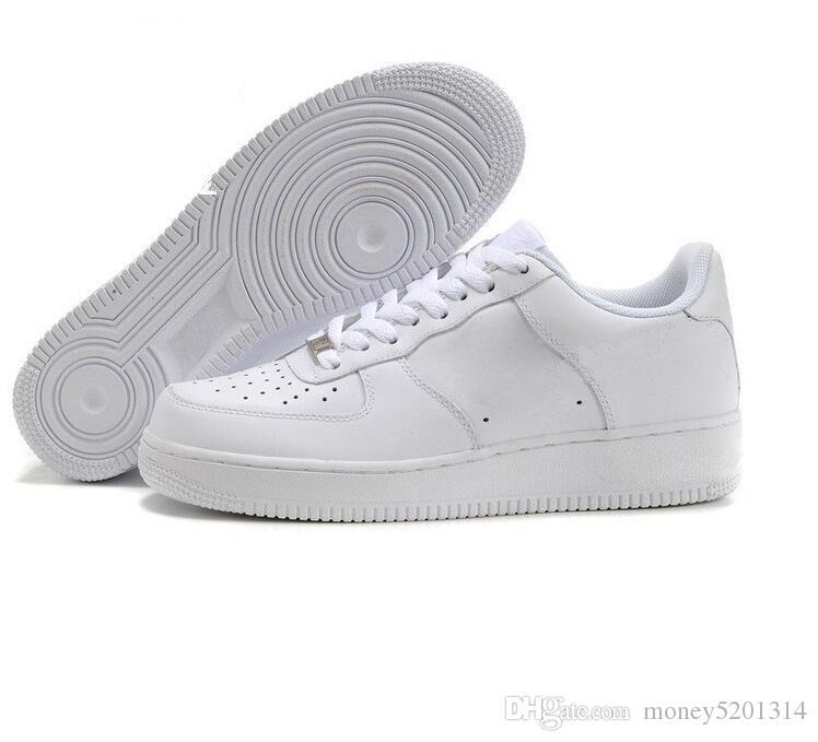 Nike Air Force One 1 Avec la boîte LIÈGE Pour MenWomen de haute qualité Un panier 1 Chaussures Low Cut Tous panier Couleur Blanc Noir Sneakers US Taille de 5,5 à 12