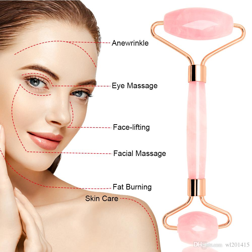 De haute qualité Rose Quartz Jade Rose Rouleau de massage Pierres Visage Rouleau Visage Minceur massage du corps du cou Massager de tête