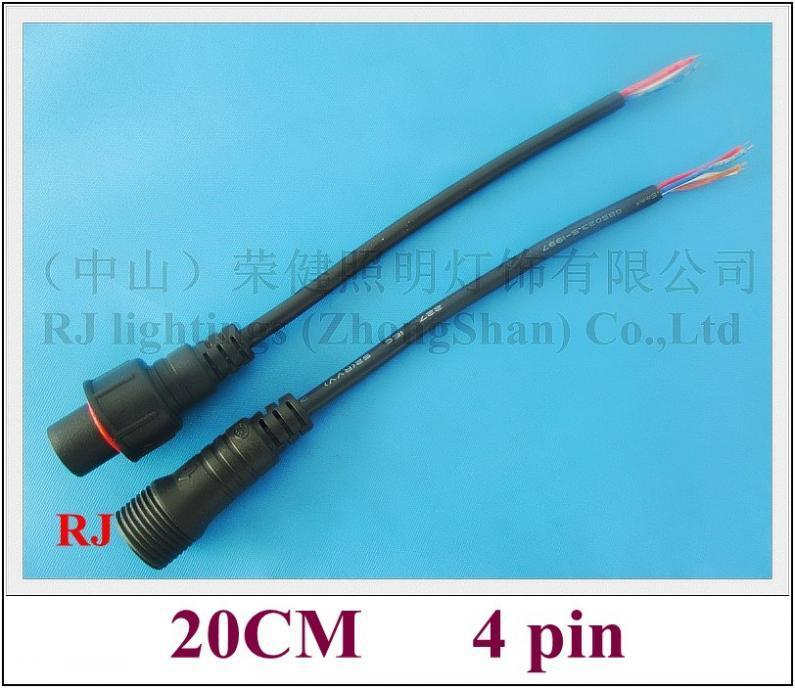 RGB Conector General Cable de alambre Masculino y femenino para al aire libre RGB LED Iluminación (100V - 300V) 20 cm 4 PIN CE ROHS 2019