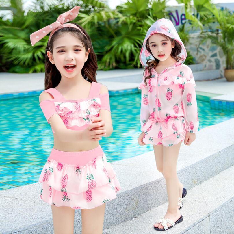 Girls Sweet Bikinis Swimsuits Lovely Print Swimwear Kids Summer Pink Yellow Bathing Suit 3pcs/set Free Shipping