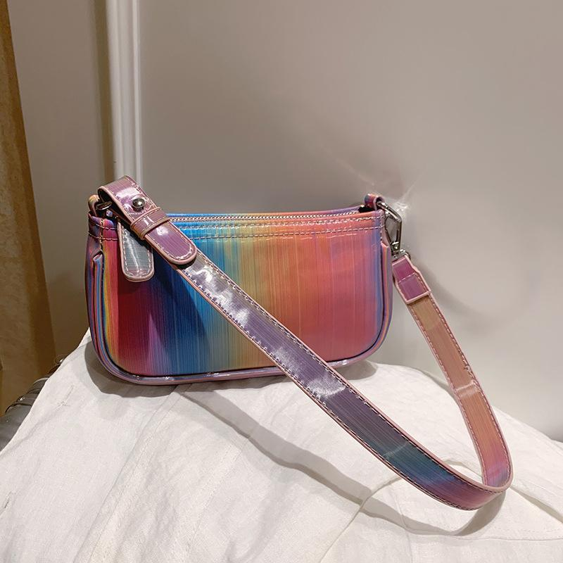 Mulheres Shoulder Bag-íris Baguette Bolsa 2020 Tendência colorido couro PU Mulher do verão bolsas Designer Senhoras bolsas Pequeno