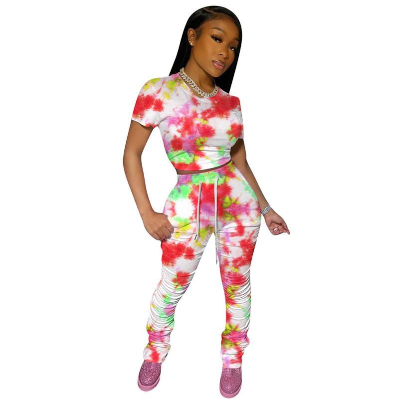 женские Двухкусочной нарядов Summer Tie крашеного Дизайнерской одежды 2pcs одежда Комплекты Для женщин 20SS конструктора Tshirts штабелей Леггинсы Брюк Костюмов